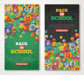 Back To School Banner Set With Flat Icons on Circles. — Stock Vector