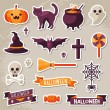 Set of Halloween Ribbons and Characters Stickers. — Stock Vector #77772268