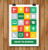 Cartel plano con educación y conjunto de iconos de suministros de la escuela. — Vector de stock