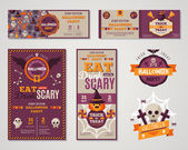 Set Of Happy Halloween Greeting Cards or Flyers. — Stock Vector