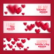 Valentines Day Horizontal Banners Set with Hearts — Stock Vector #79712248