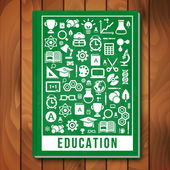 Vector Education Concept. E-learning and Science Icons — Stock Vector