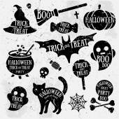 Set of Halloween Characters with Text Inside. — Stock Vector