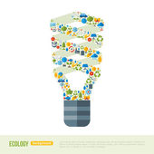 Energy-saving Light Bulb with ecology Icons Pattern. — Stock Vector