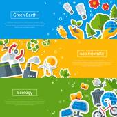 Environmental Protection, Ecology Concept Horizontal Banners Set — Stock Vector