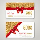 ゴールドラメ テクスチャと赤いボー ギフト カード デザイン. — ストックベクタ