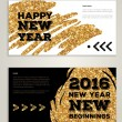 Постер, плакат: New Year 2016 artistic invitations with trendy golden paint stain