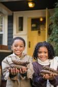 Bambini con le pigne — Foto Stock