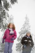 Portrait of the Children in the snow — Stock Photo