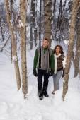 Coppie mature a piedi attraverso la neve — Foto Stock