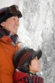 Father and son in snow — Stock Photo