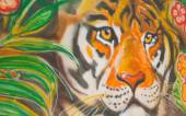 Painted wall- tiger in the jungle. — Stock fotografie