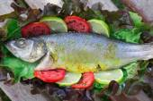 Baked Sea Bass With Vegetables And Curcuma — Stock Photo