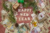Winter holidays congratulations. Background — Stock Photo