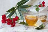 Herbal tea with bay leaf and honey — Stock Photo