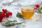 Summer savory herbal tea — Stock Photo