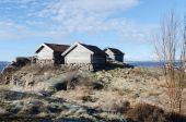 Three old boat house — Stock Photo