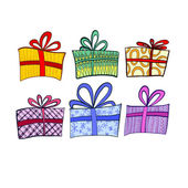 Vector illustration. Set of gifts on a white background — Stockvector