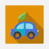 Flat eco-friendly car icon — Stock Vector