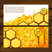 Horizontal autumn banners with honeycomb — Stock Vector