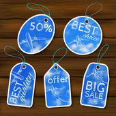 Sale tags with blurry photos and sketch — Stock Vector