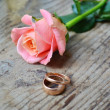 Two engagement golden rings with a beautiful wedding pink rose — Foto de Stock   #52566667