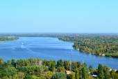 Beautiful view of Kiev river Dnipro and  Trukhaniv Island — Stock Photo