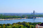 Beautiful view of Kiev river Dnipro and  Moscow Bridge — Stock Photo