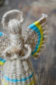 Traditional faceless Ukrainian doll motanka with angel wings and halo — Stok fotoğraf