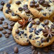 Tasty chocolate cookies with coffee beans and anise stars — Stock Photo #55061319