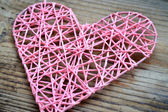 Pink handmade heart for St Valentine's Day — Stock Photo