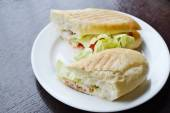 Two big sandwiches with lettuce and chicken on white plate — Stock Photo