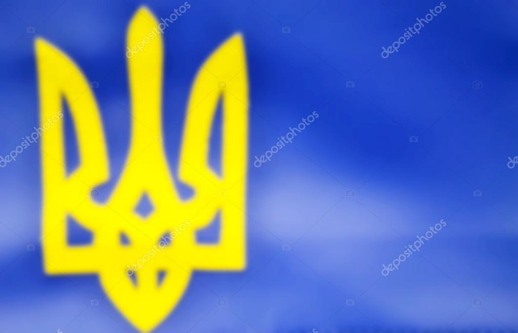 Blå gul flagga med treudd