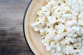 Fresh and raw chopped white cauliflower — Stock Photo