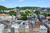 LVIV, UKRAINE - JUNE 29, 2015: cityscape topview of Lviv downtown — Stock Photo