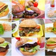 The concept of unhealthy, but tasty fast food in shape of collage with different types of burgers — Stock Photo #82738678