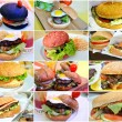 The concept of unhealthy, but tasty fast food in shape of collage with different types of burgers — Stock Photo #82918796