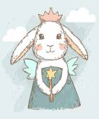 Fairy rabbit with magic wand — Stock Vector