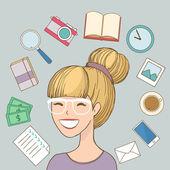 Happy woman worker freelancer — Stock Vector