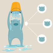 Cute monster in ice bucket challenge — Stock Vector