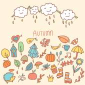 Autumn background with cartoon raining clouds and elements — Vector de stock
