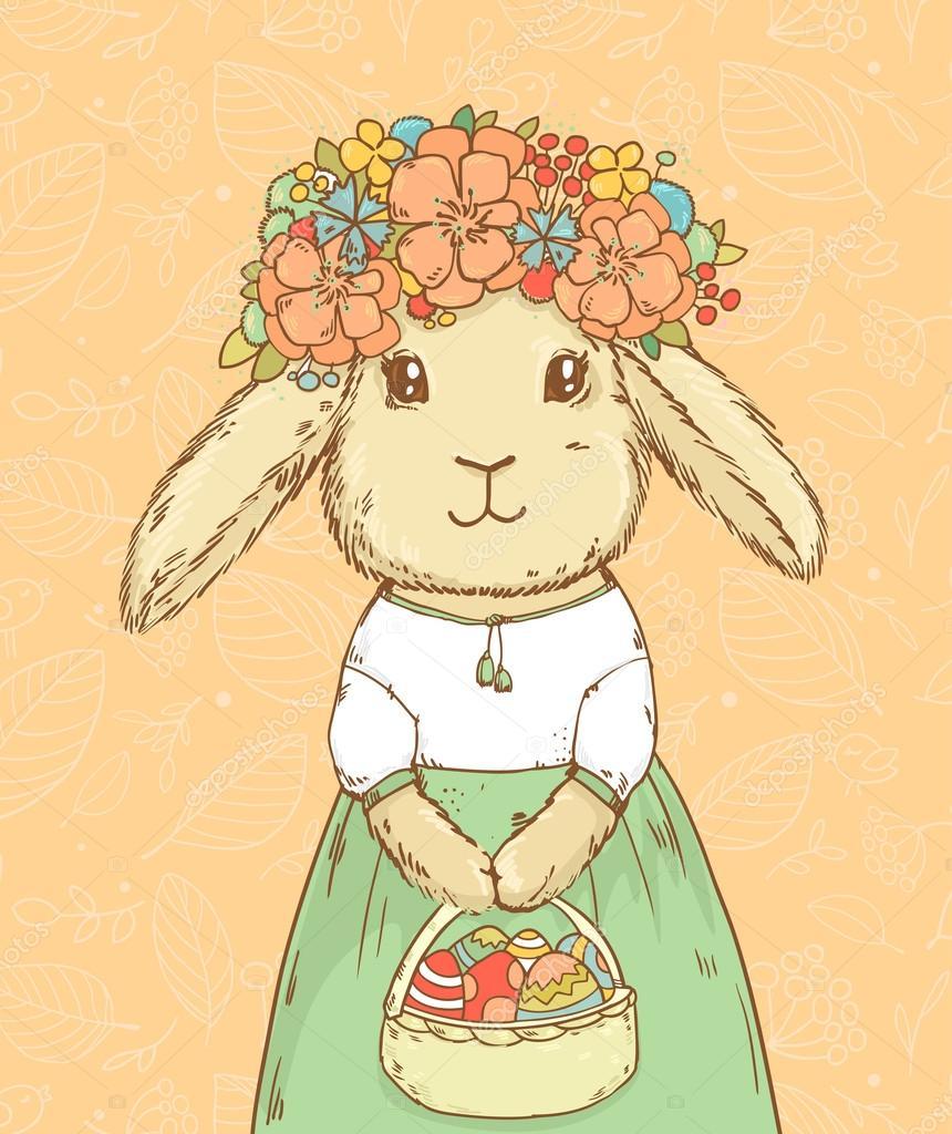 复活节兔子可爱的女孩在彩蛋在抽象背景图上的花环— vector by l
