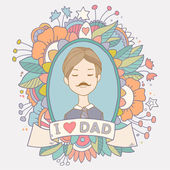 Cute vintage greeting card with father. Happy fathers day. — Vector de stock