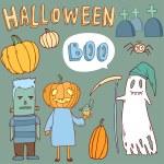 Cute cartoon halloween symbols collection — Stock Vector #52781835