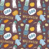 Funny seamless halloween pattern — Stock Vector