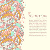 Abstract autumn vector background with space for your text. Seamless beautiful cartoon border in pastel colors — Stock Vector