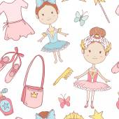 Seamless pattern with little cute ballerinas — Stock Vector