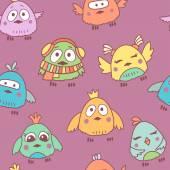 Cartoon birds seamless pattern — Stock Vector
