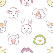 Cute animals seamless patter — Stock Vector