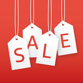 Vector sale illustration. Paper hanging price tags. — Cтоковый вектор